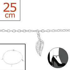 TJS 925 Sterling Silver Anklet Leaf 3 Leaves 22cm Expandable to 25cm Cute Design