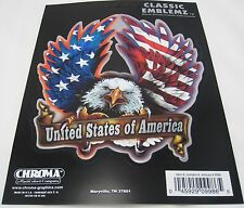 1 UNITED STATES OF AMERICA DECAL AUTO TRUCK CAR USA EAGLE FLAG STICKERS  D62