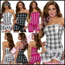 Sexy Womens Bandeau Playsuit Ladies Checked Overall ONE SIZE 6,8,10,12 UK