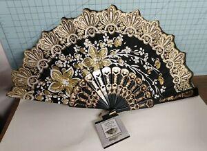 Oriental Foldable Fan blk fabric gold/glitter flowers plastic/glitter handle