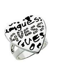 Guess GRAFFITI Rhinestone Heart Ring Size 7 Silver Tone BNWT