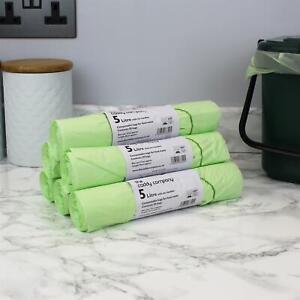 5 Litre x 300 Compostable Tie Handle Caddy Liners-Food Waste Bin Bags-EN13232