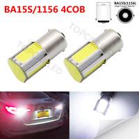 2X Auto P21W COB 1156 BA15S 4 LED Car Source External Tail Backup Reverse Lamp