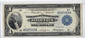 1918 $1 National Currency Blue Seal Federal Reserve Note FRN Boston MA A-1 FR708