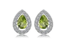 White gold finish natural peridot and created diamond pear cut earrings