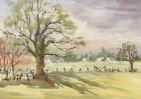 John A. Case - Contemporary Watercolour, Study of a Field with Houses