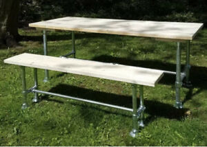 Galvanised Steel And Scaffold Board 5ft Home Bar Table And Bench Rustic