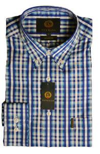 Viyella Cotton Blue Dobby Stripe on Check Shirt Small