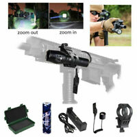 Tactical 5000Lm Zoom Focus Flashlight Hunting LED Torch Pressure Switch Mount