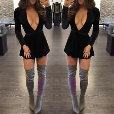 Womens Long Sleeve Dress Deep V-Neck Mini Dress Velvet Cocktail Party Evening