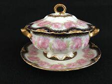 Covered Dish Haviland Limoges Presidential Drop Pink Rose Porcelain Gold Trim