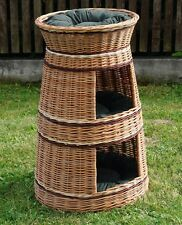 Wicker willow round 3 tier bunk baskets bed for pet cat kitten dog with Cushions