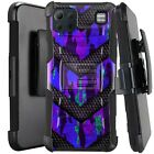 Holster Case For LG K92 5G (2020) Kickstand Phone Cover - PURPLE CAMO BADGE