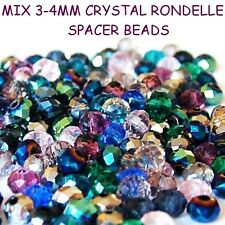 150 PCS MIX 3-4MM CRYSTAL RONDELLE SPACER BEADS  /JEWELLERY MAKING
