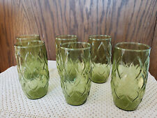 New Listing6 Vtg. Retro Avocado Green Glass 16 oz. Beverage Drinking Glasses Quilted Look