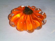 "Orange Pumpkin Crystal|Glass 5"" Decor /  Paperweight Autumn Fall Halloween"