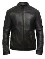 Brandslock Mens Leather Jacket Genuine Lambskin Slim Fit Biker vintage Retro