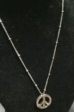 "Fossil gold tone peace sign w/amber rhinestones & 22"" gold tone chain( E.U.C.)"