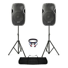 """Active Powered 12"""" Mobile DJ PA Disco Speaker Set with Stands & Cables 1200W"""