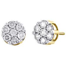 Diamond Flower Stud Earrings 14K Yellow Gold Round Cut Pave Design 1.05 Tcw.