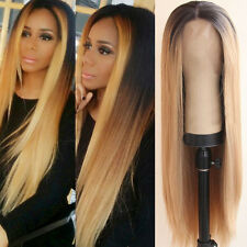 Long Straight Two Ombre Blonde Hair Wigs Women Heat Resistant Lace Front Wig 20""