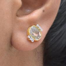 2.45 Ct Slice Diamond Designer Stud Earrings 18K Gold Handmade Wedding Jewelry