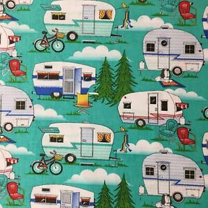 Summer Holiday Caravan With Glitter Sewing Quilting Cotton Fabric 1/2 Yard