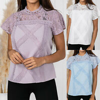 Womens High Neck Lace Hollow T-Shirt Ladies Summer Short Sleeve Tops Blouse Tee