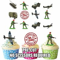 PRECUT Fathers Day Dad Army Military 12 Edible Cupcake Toppers Cake Decorations