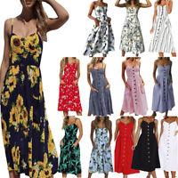 Women's Summer Casual Long Maxi Evening Party Cocktail Beach Dress Sundress New