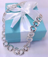 NEW Tiffany & Co. Square Cushion Link Necklace 16 IN Pendant Sterling Silver 925