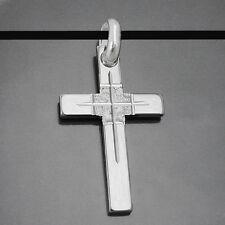 gro�Ÿes Männer Kreuz Echt Silber 925 Anhänger mit 60 cm Kautschuk Kette schwarz