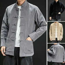 Men's Vintage Corduroy Long Sleeve Button Down Shirt Collar Chinese Style Blouse