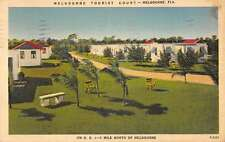 Melbourne Florida Tourist Court Street View Linen Antique Postcard K21199