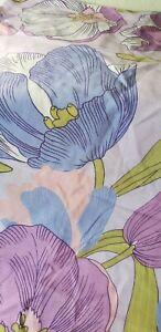 Rare PAIR Mid Century Mod BURLINGTON Pillowcases PURPLE PINK LARGE Flowers ~LOOK