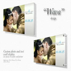 Personalised Canvas / Acrylic wall picture with custom text Gift Present Wava