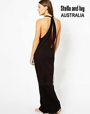BLACK MAXI BOHO DRESS SIZE 10 AU WOMENS NEW