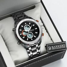 Mens Part Stainless Steel Black Chronograph Alarm Sports Watch Discount SRP £455