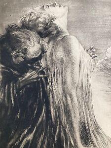 Alois Kolb: Botschaft - Große erotische signierte Orig. Radierung um 1925 Erotik