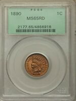 1890 1c Indian Head cent PCGS MS65RD