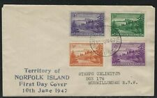 1947 Norfolk Island FDC - Scott #1-4 (SG #1-4) - ½d-2d View of Ball Bay Stamps