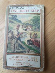 Vintage Ordnance Survey Map Maidstone & Tunbridge Wells One Inch Cloth Map