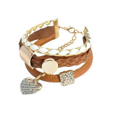 Brown Leather Imitation 3 Layers Charms Heart Women Girl Bangle Bracelet