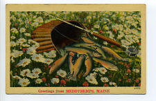 Meddybemps ME Maine greetings, fishing pole, basket fish, linen, 1940's