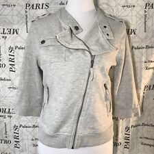Hurley Womens M Sweatshirt Gray Asymmetrical Zipper Elbow Length Sleeve