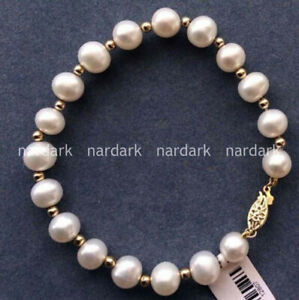 NATURAL 8-9MM ROUND SOUTH SEA GENUINE WHITE PEARL BRACELET 7.5'' AAA GOLD CLASP