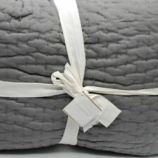 Pottery Barn TWIN Pick-stitch Flagstone Gray Cotton Quilt NEW