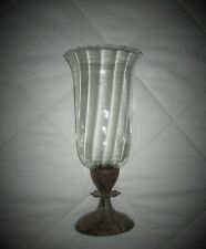 Vintage Free Standing Floral Resin CANDLE HOLDER w/Glass Hurricane Lamp