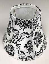 White Lamp Shade W/Faux Velvet Black Design Shabby Chic-Unbranded