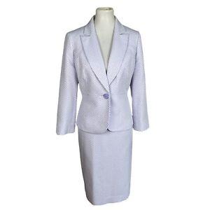 New LE SUIT 2PC Purple Polyester Lined Peak Collar Skirt Suit Size 8 MSRP $280
